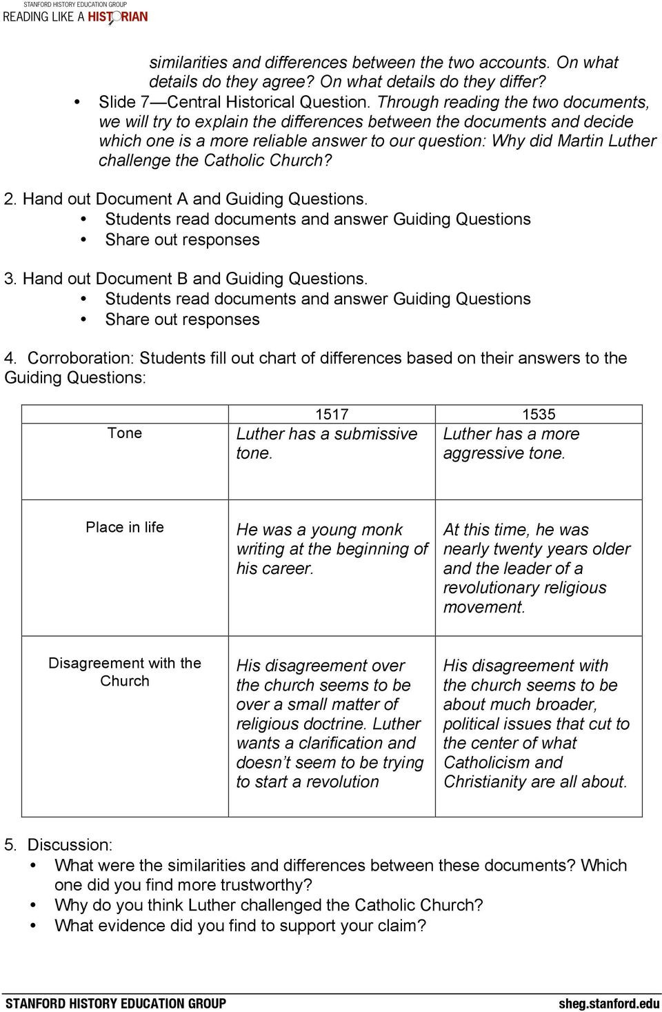 Protestant Reformation Worksheet Answers Reformation Lesson Plan Central Historical Question why