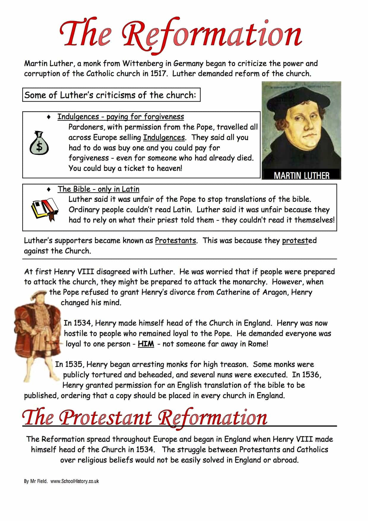 Protestant Reformation Worksheet Answers the Protestant Reformation Worksheet