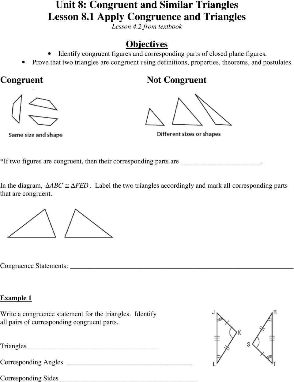 Proving Triangles Congruent Worksheet Unit 8 Congruent and Similar Triangles Lesson 8 1 Apply