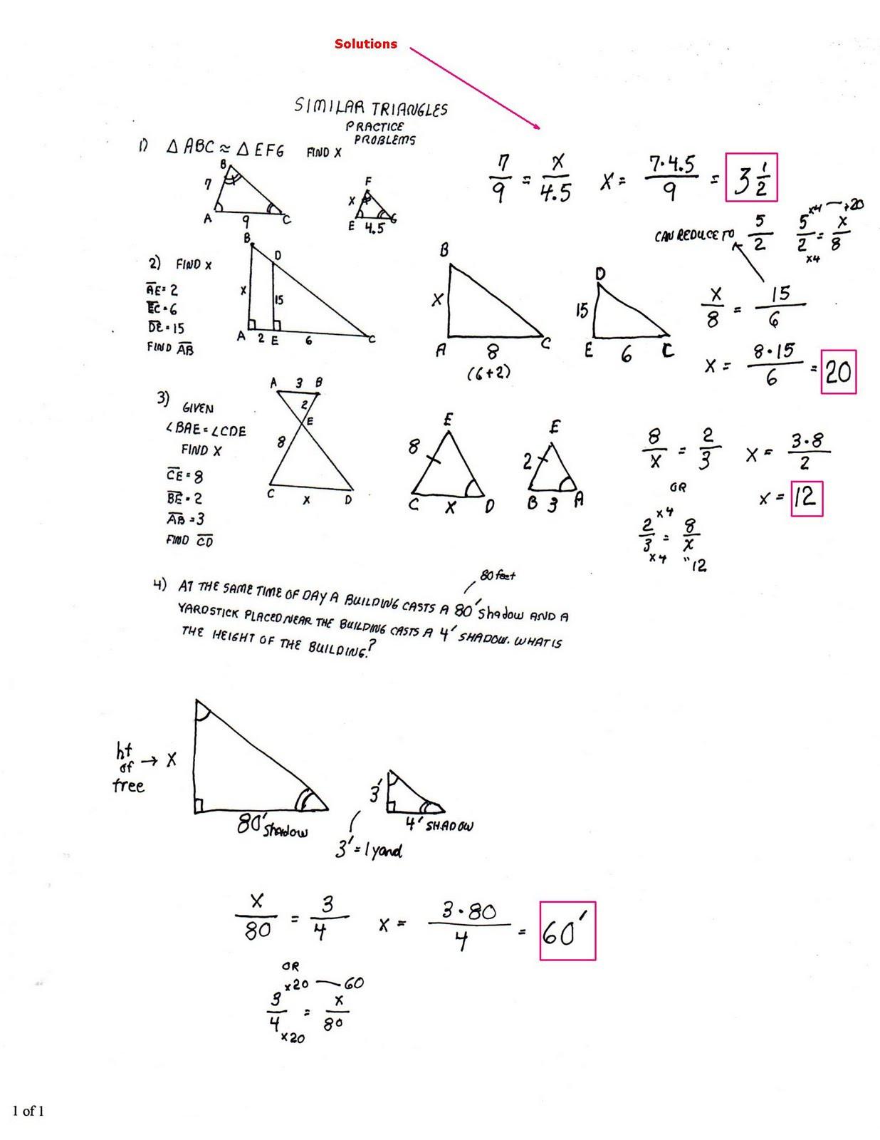 Proving Triangles Similar Worksheet Similar Triangles Worksheet Answers