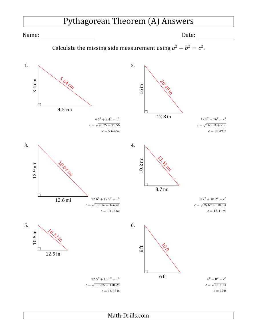 Pythagorean theorem Practice Worksheet Calculate the Hypotenuse Using Pythagorean theorem No