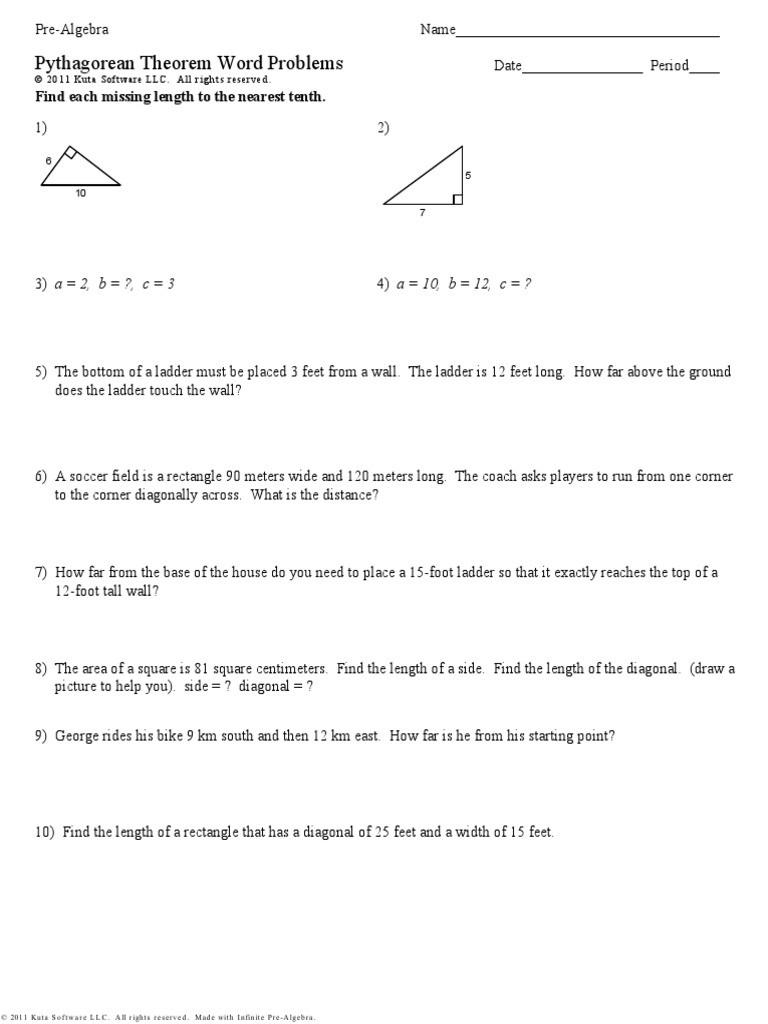 Pythagorean theorem Practice Worksheet Kuta software Pythagorean theorem Word Problems
