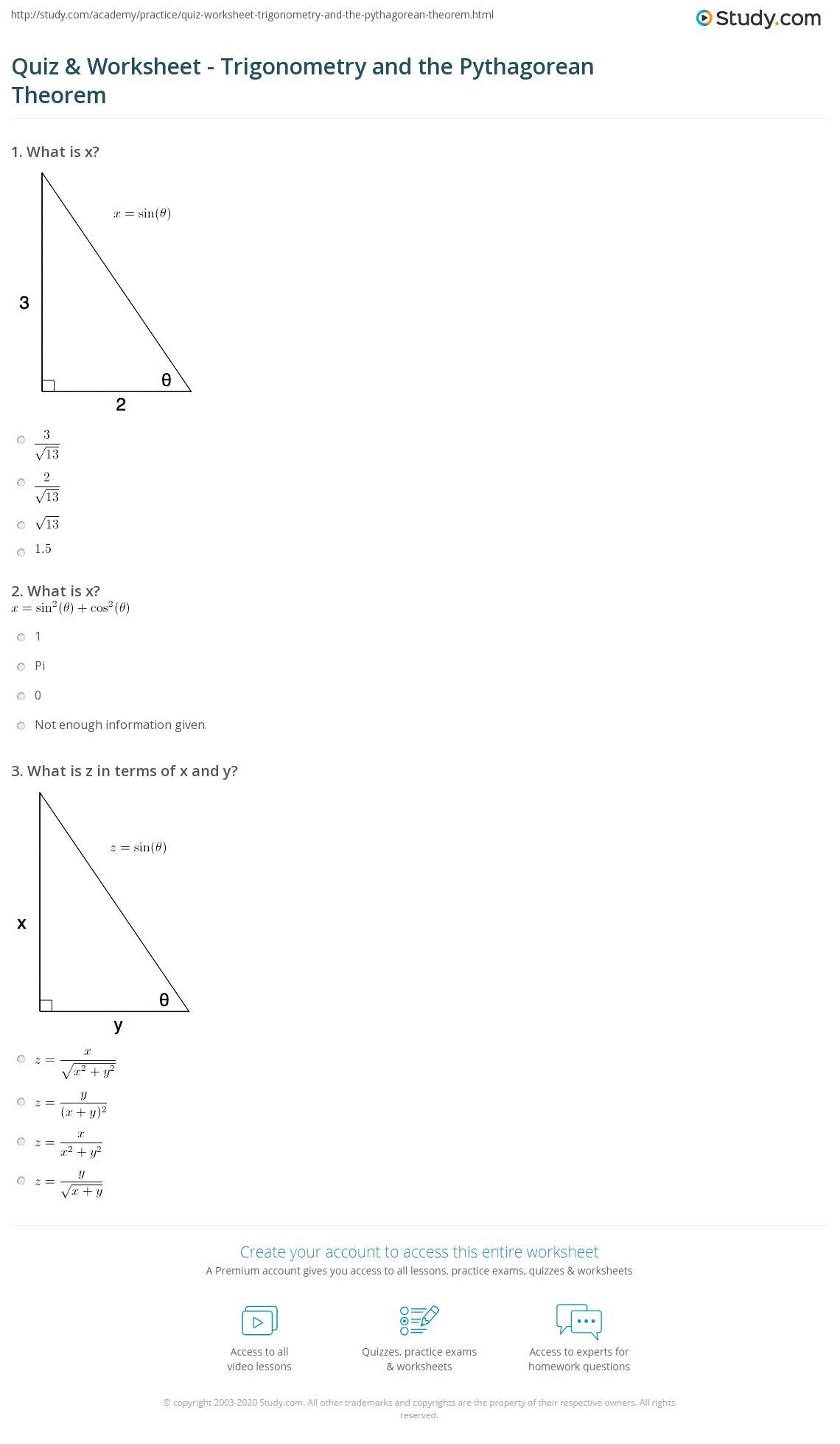 Pythagorean theorem Practice Worksheet Quiz & Worksheet Trigonometry and the Pythagorean theorem