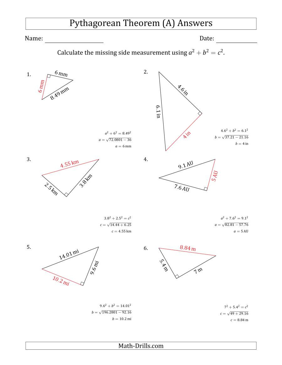 Pythagorean theorem Worksheet Answers Calculate A Side Measurement Using Pythagorean theorem A