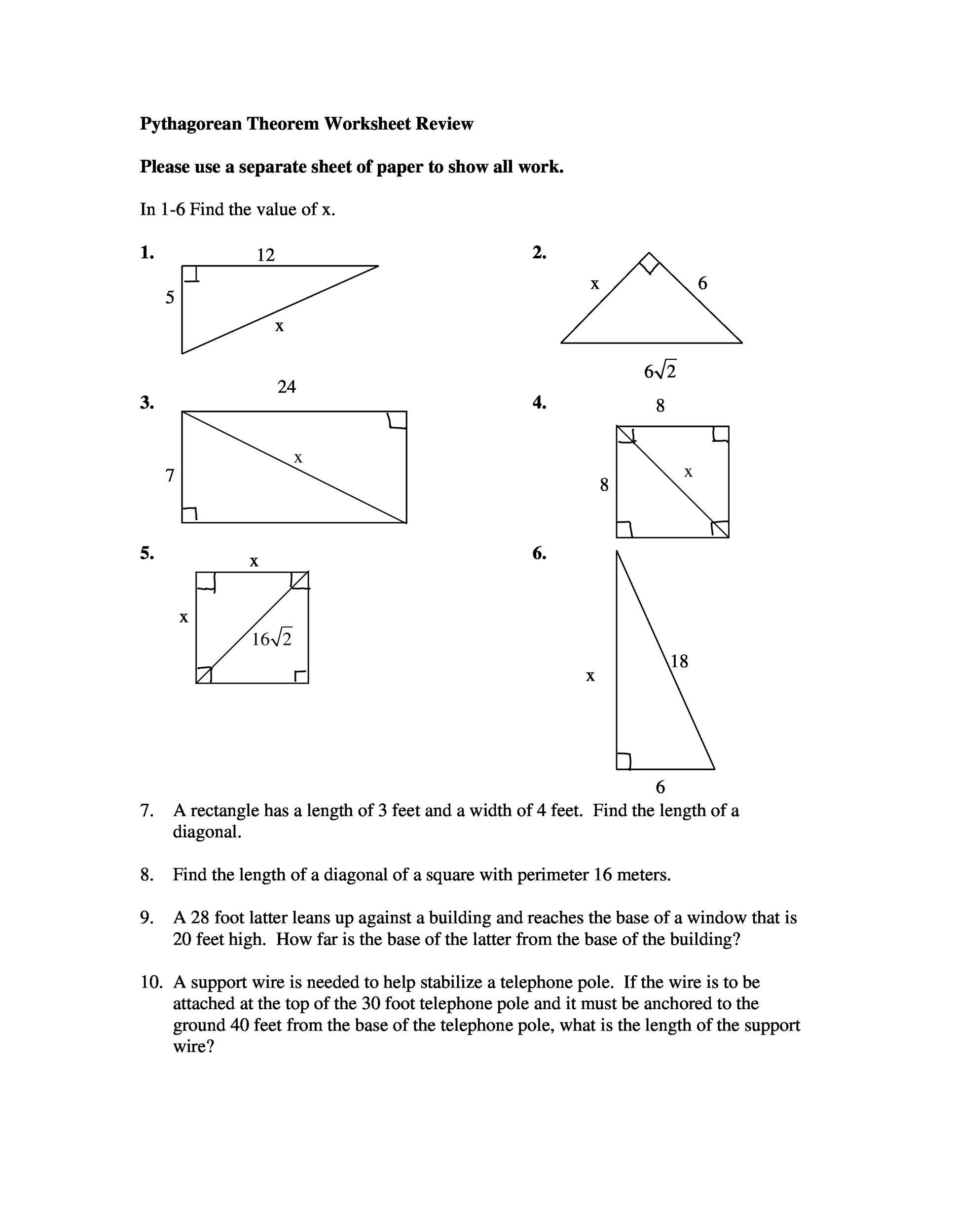 Pythagorean theorem Worksheet Answers Pythagorean theorem Perimeter Worksheet