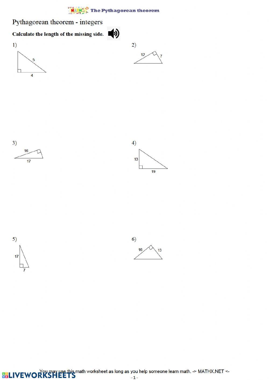 Pythagorean theorem Worksheet Answers Pythagorean theorem Practice Ws Interactive Worksheet