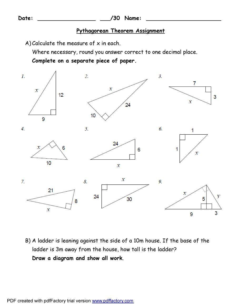 Pythagorean theorem Worksheet Answers Pythagorean theorem Worksheet Answers