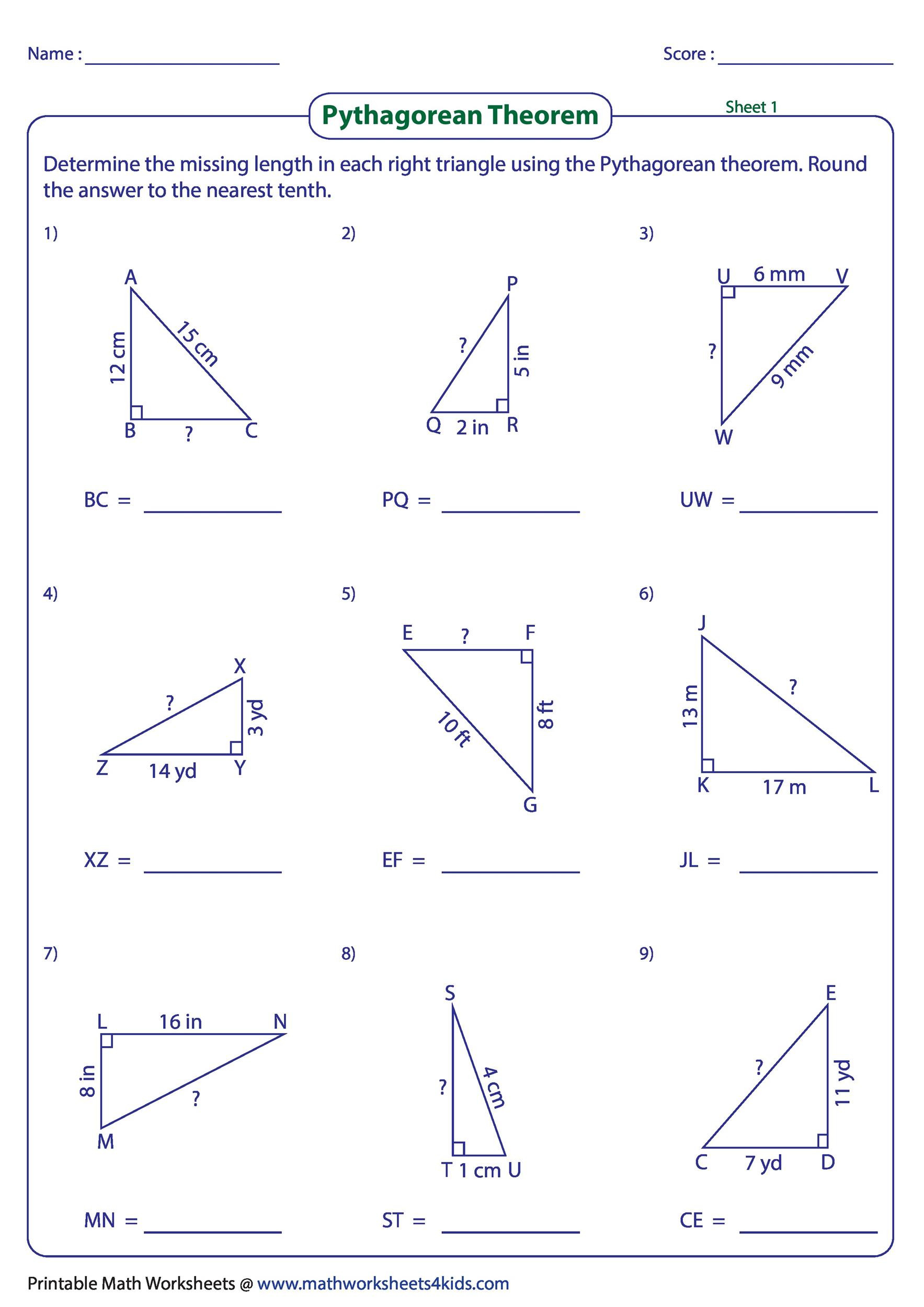 Pythagorean theorem Worksheet with Answers 34 Pythagorean theorem Worksheet Answer Key Worksheet