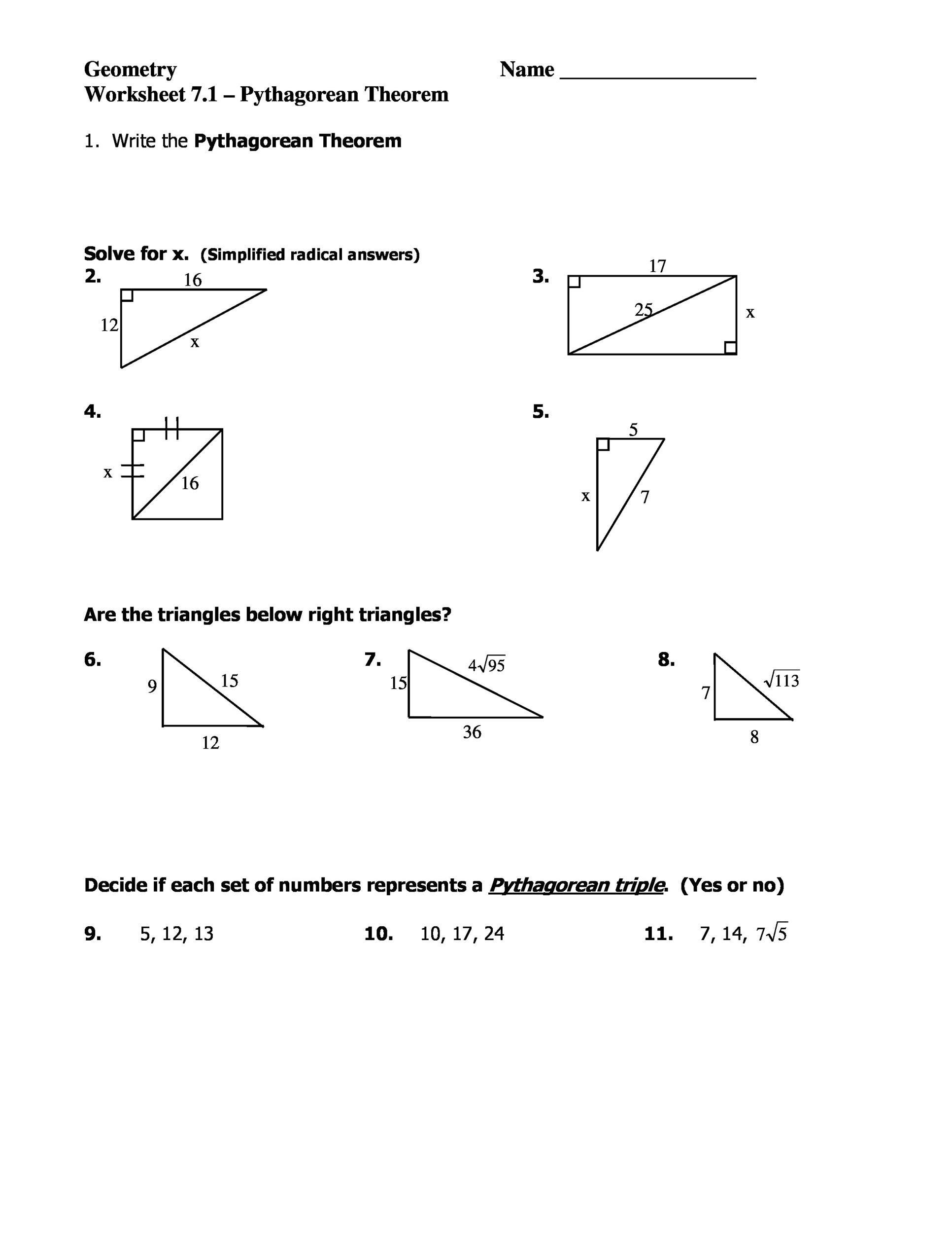 Pythagorean theorem Worksheet with Answers Pythagorean theorem formula Worksheets