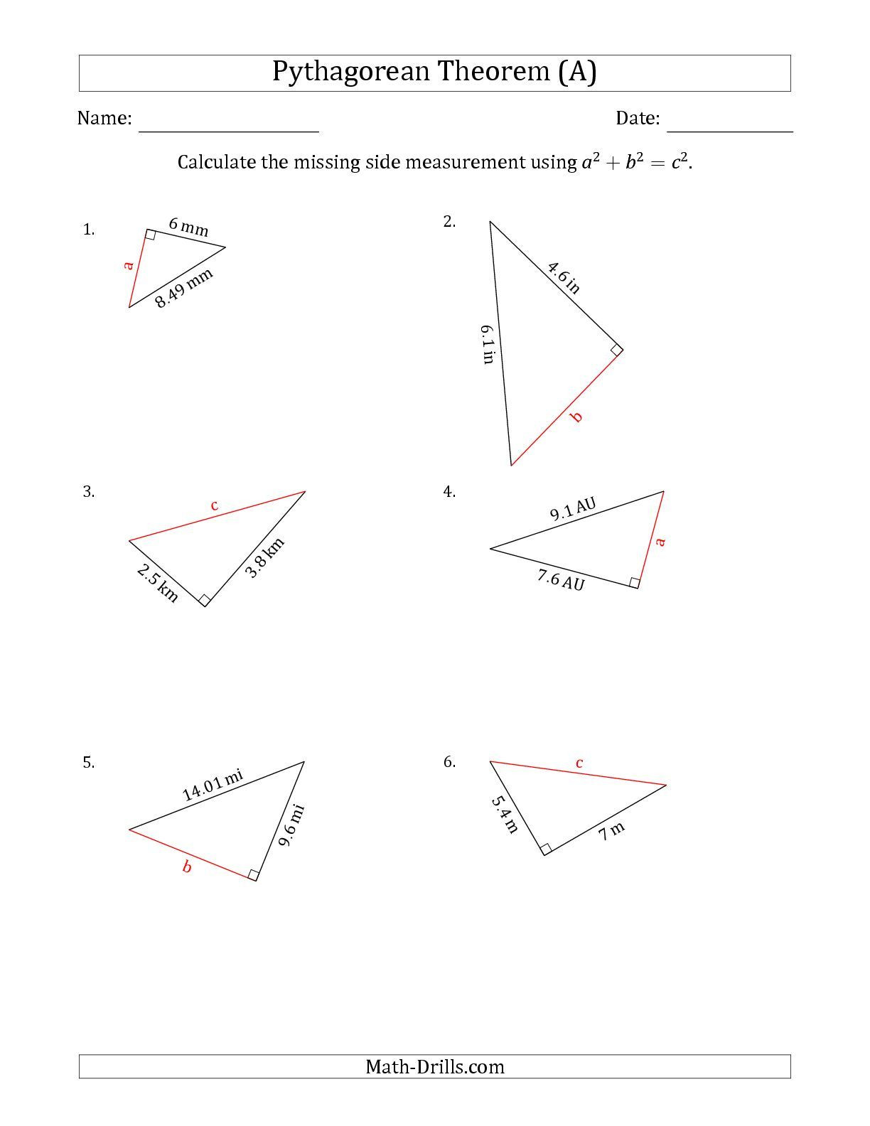 Pythagorean theorem Worksheet with Answers Pythagorean theorem Maze Worksheet