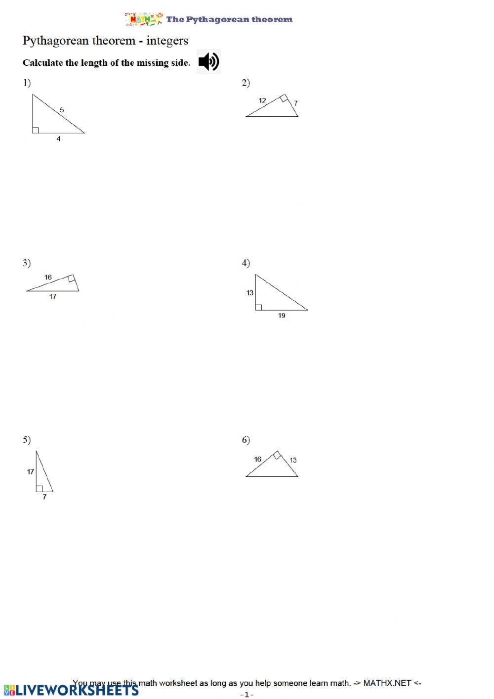 Pythagorean theorem Worksheet with Answers Pythagorean theorem Practice Ws Interactive Worksheet