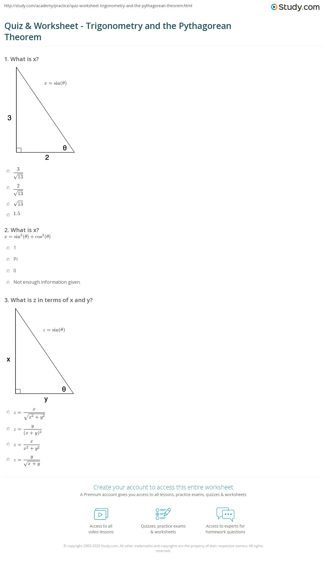 Pythagorean theorem Worksheet with Answers Quiz & Worksheet Trigonometry and the Pythagorean theorem