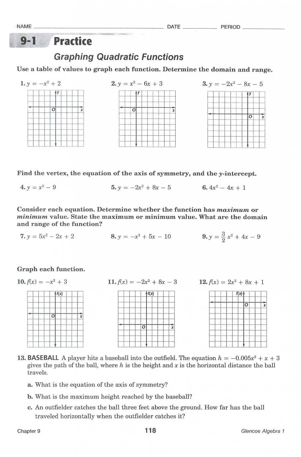 Quadratic Functions Worksheet Answers Free Graphing Quadratic Functions Worksheet