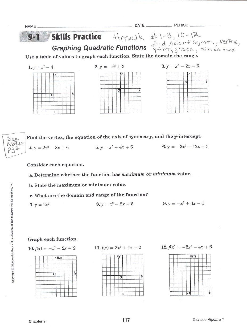 Quadratic Functions Worksheet Answers Graph Quadratic Functions Worksheet Answers