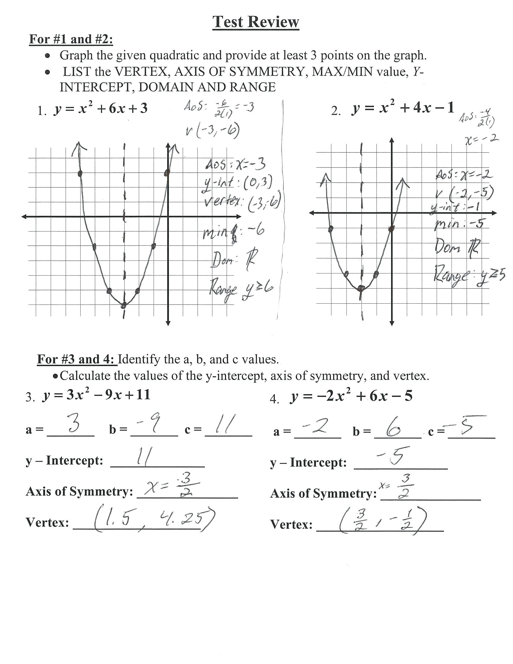 Quadratic Functions Worksheet with Answers Graphing Quadratics In Vertex form Worksheet Answers