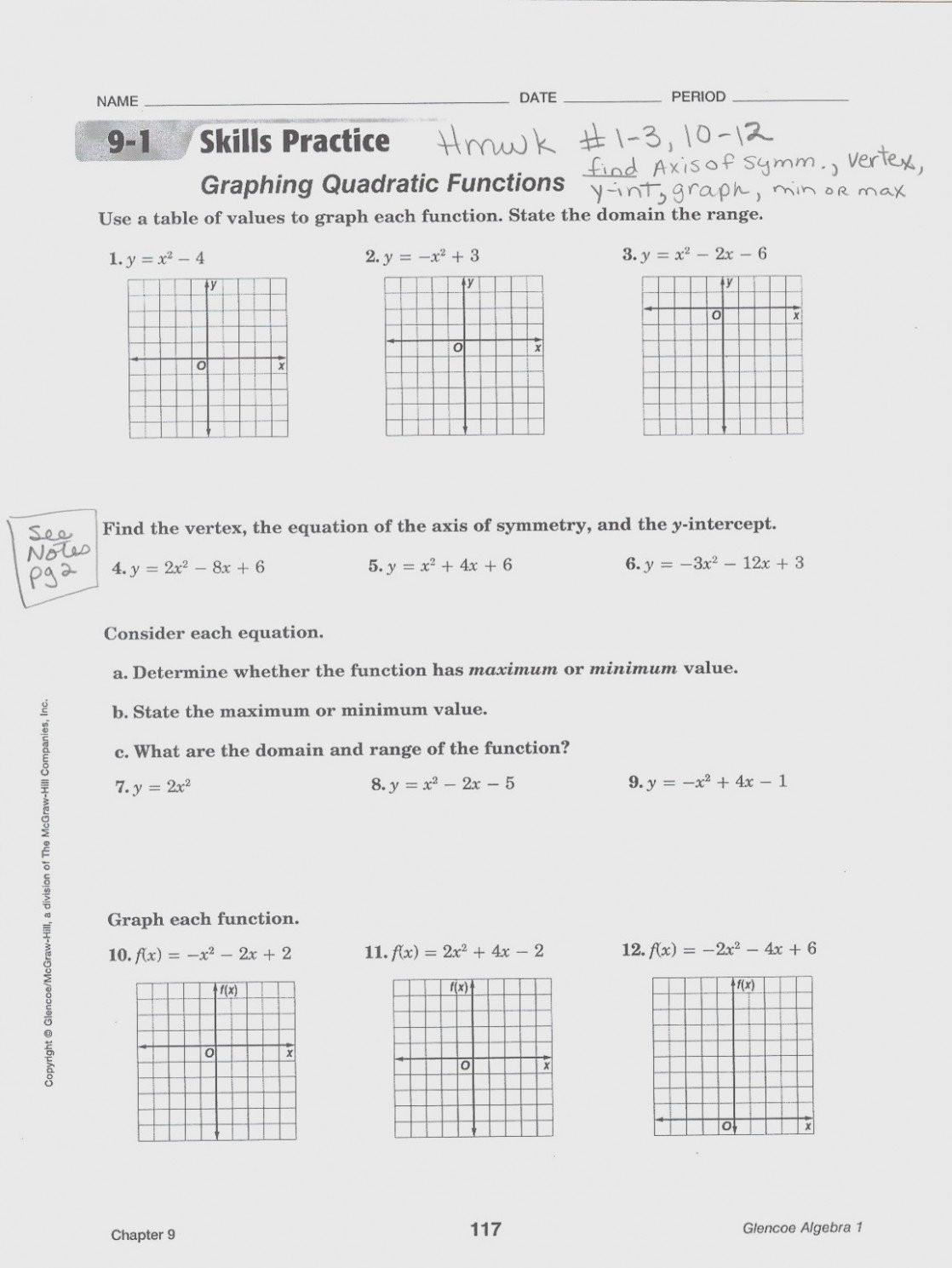 Quadratic Functions Worksheet with Answers Practice Worksheet Graphing Quadratic Functions In Vertex