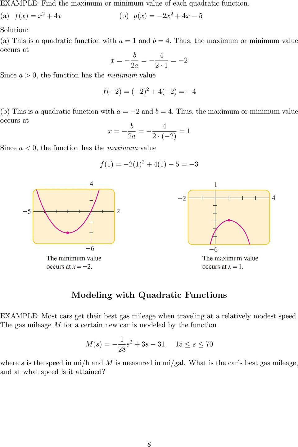 Quadratic Functions Worksheet with Answers Section 3 1 Quadratic Functions and Models Pdf Free Download