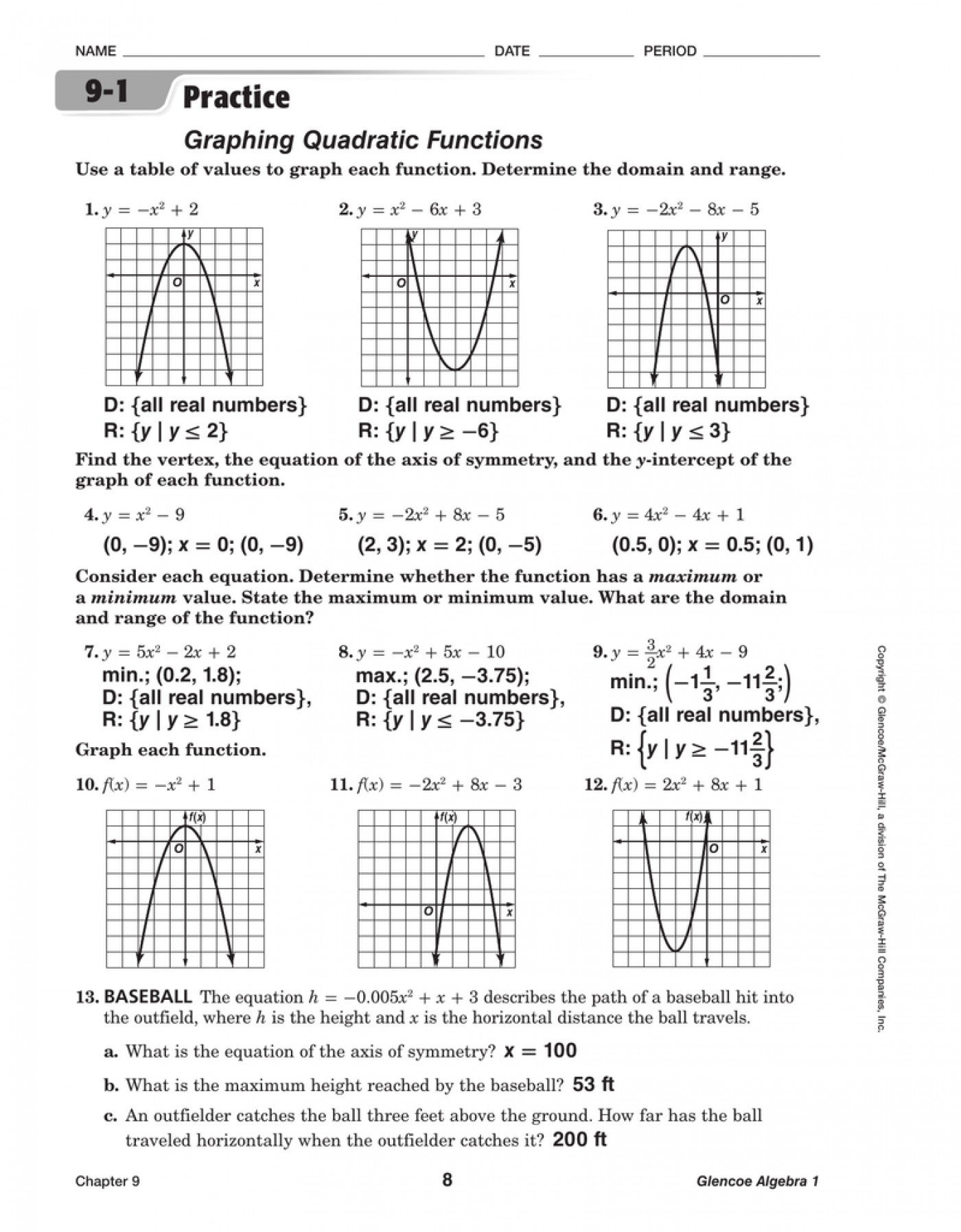 Quadratic Functions Worksheet with Answers Worksheet Graphing Quadratic Functions A 3 2 Answers