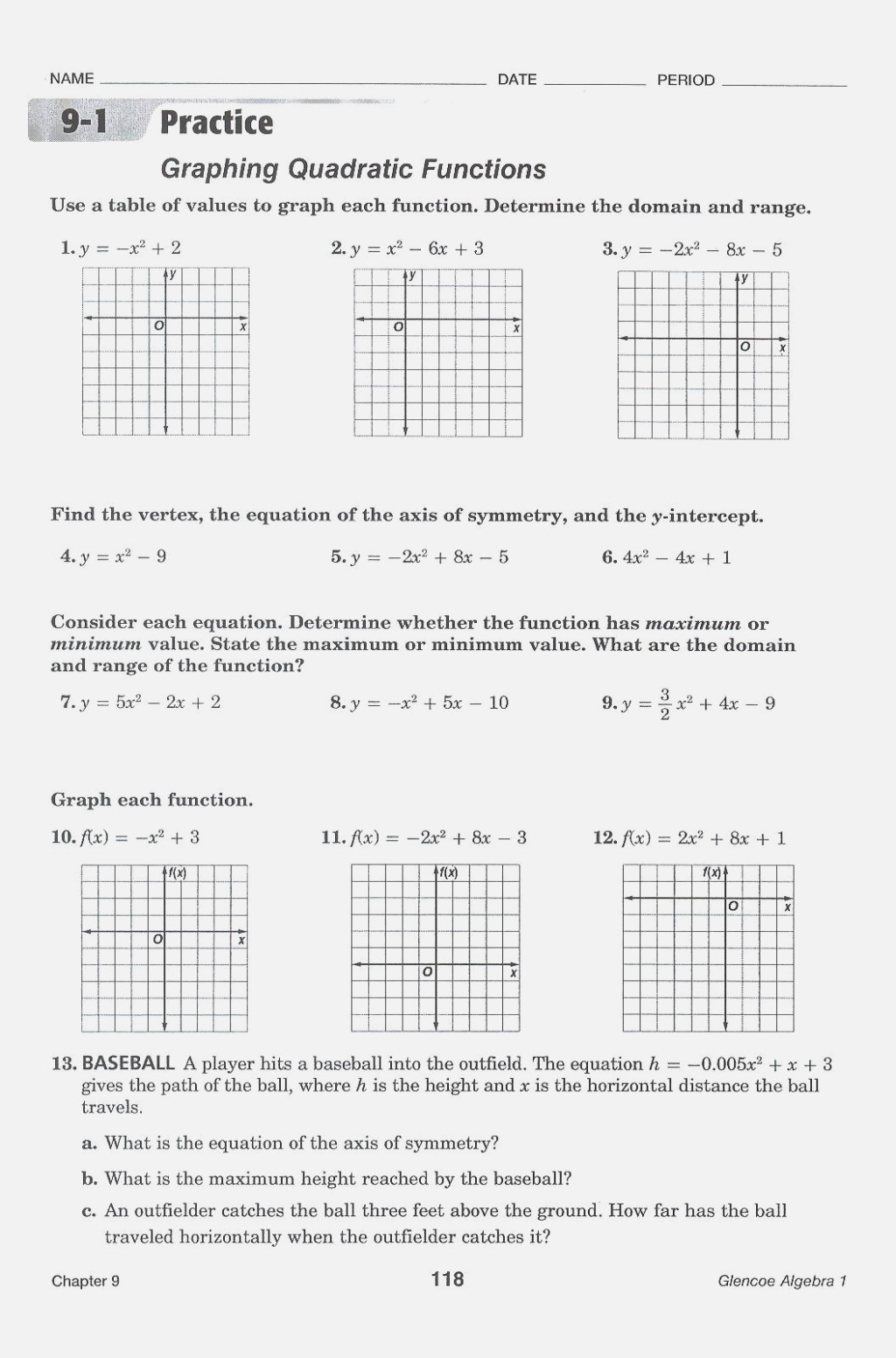 Quadratic Functions Worksheet with Answers Worksheet Graphing Quadratic Functions Keyfeatures