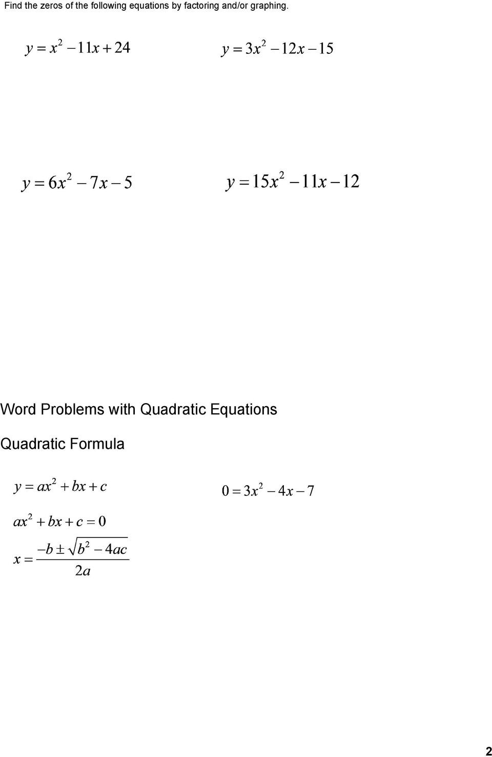 Quadratic Word Problems Worksheet Many Word Problems Result In Quadratic Equations that Need
