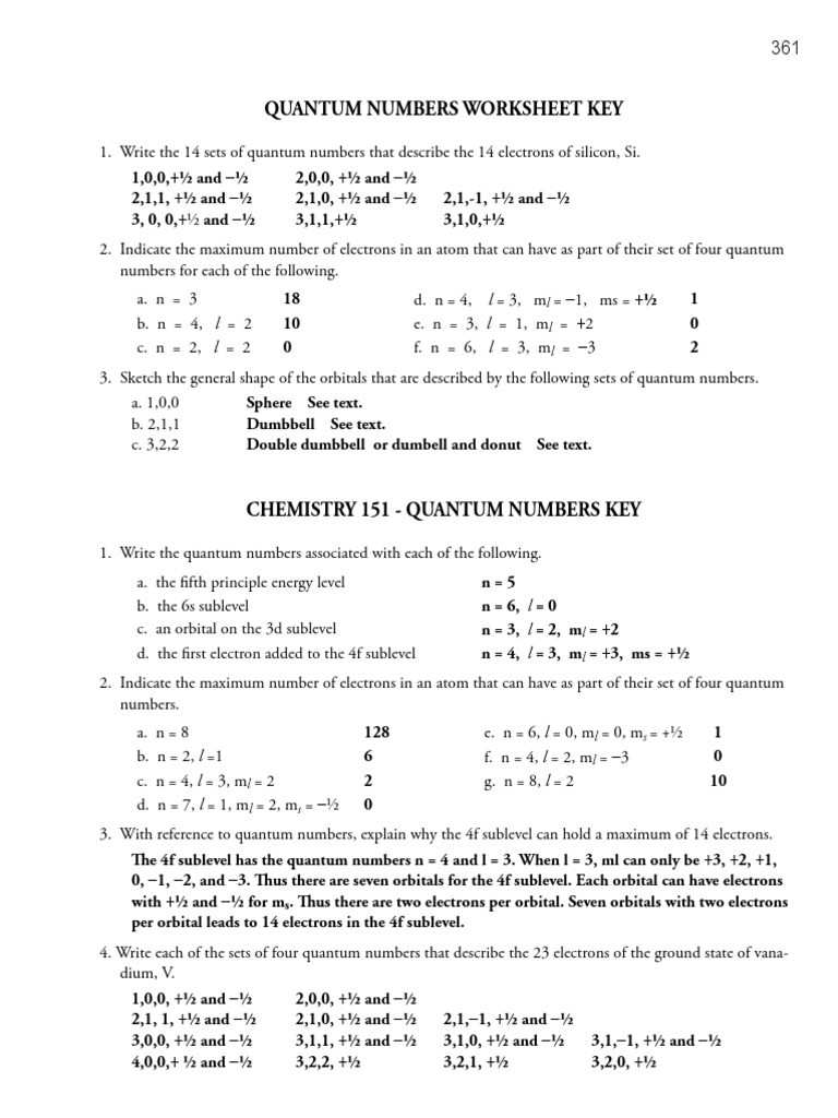 Quantum Numbers Practice Worksheet 1a Ws Keys 7 Electron Configuration