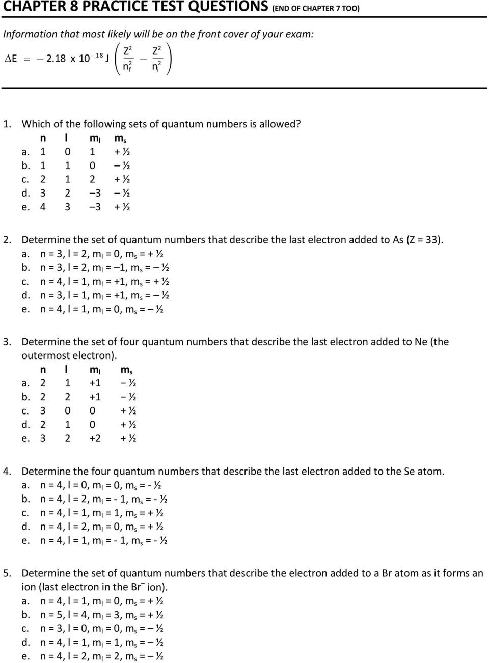 Quantum Numbers Practice Worksheet Chapter 8 Practice Test Questions End Of Chapter 7 too