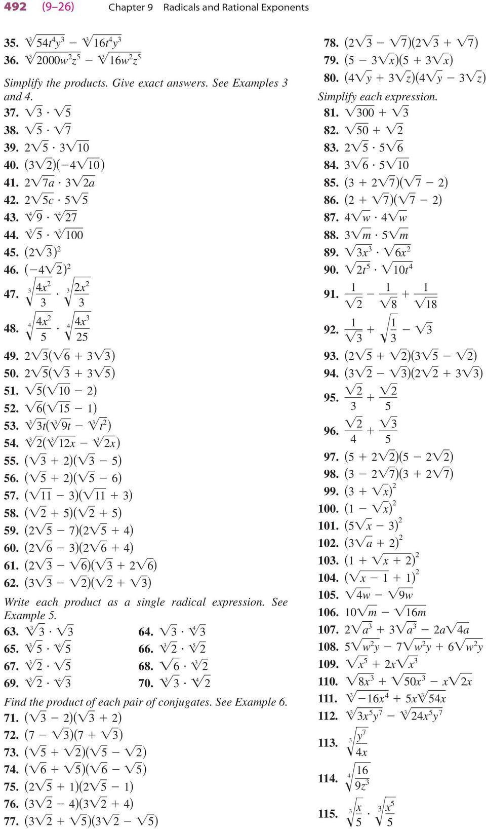 Radical and Rational Exponents Worksheet Equations with Rational Exponents Worksheet A 9 3 Answers