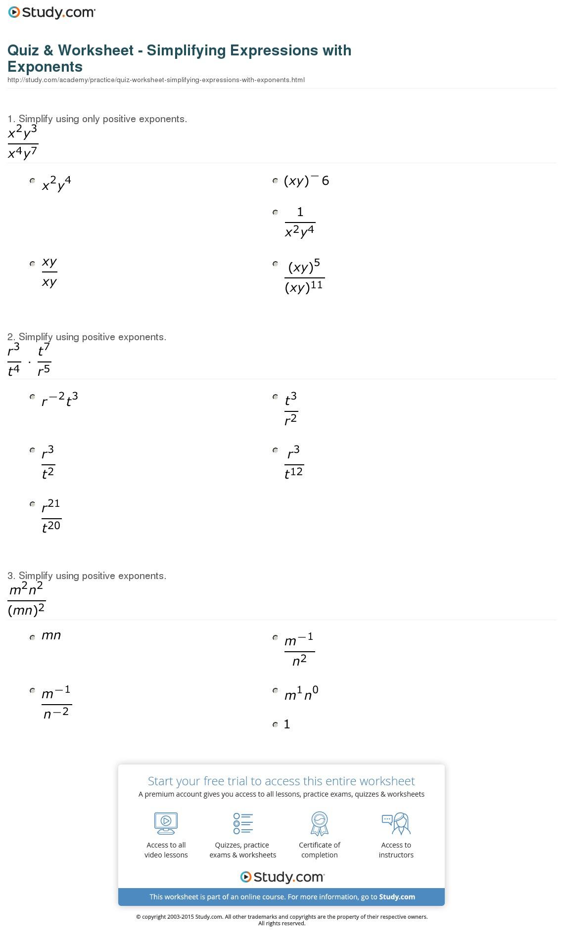 Radical and Rational Exponents Worksheet Luxury Simplifying Expressions Worksheet