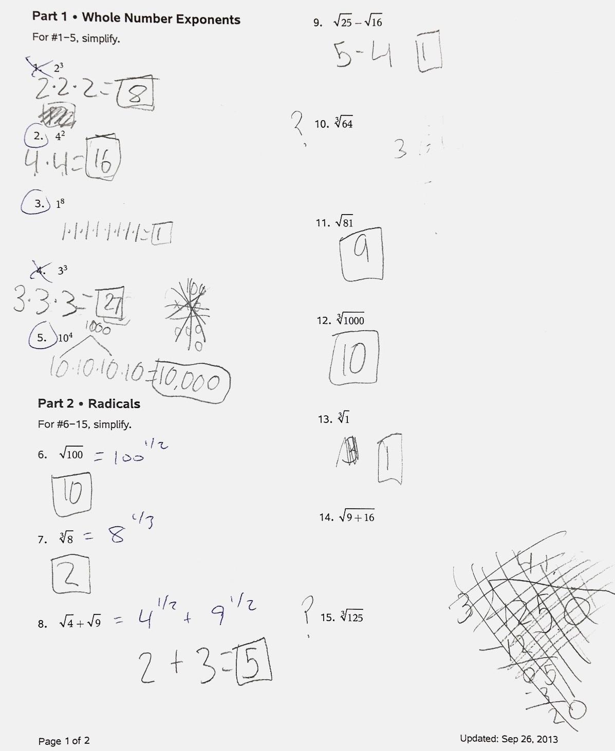 Radical and Rational Exponents Worksheet Mistakes Radicals Rational Exponents and Partitioning