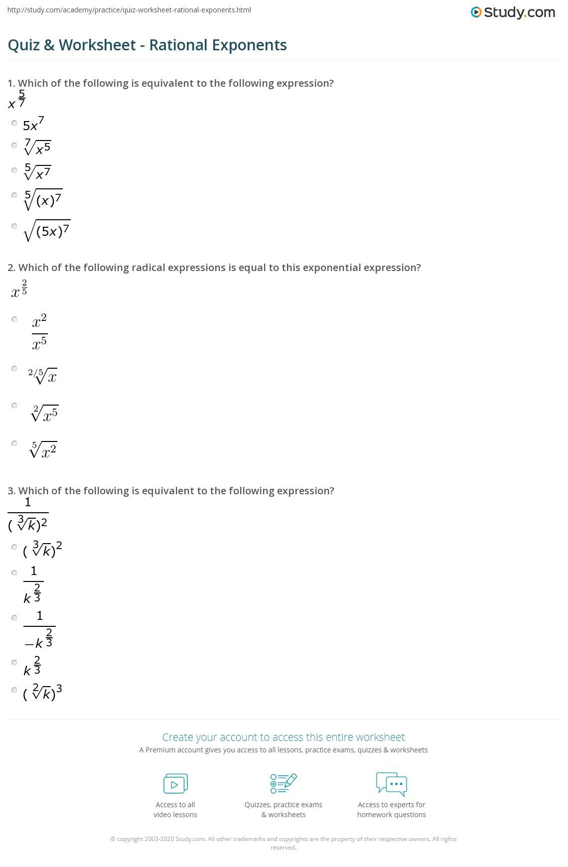 Radical and Rational Exponents Worksheet Quiz & Worksheet Rational Exponents