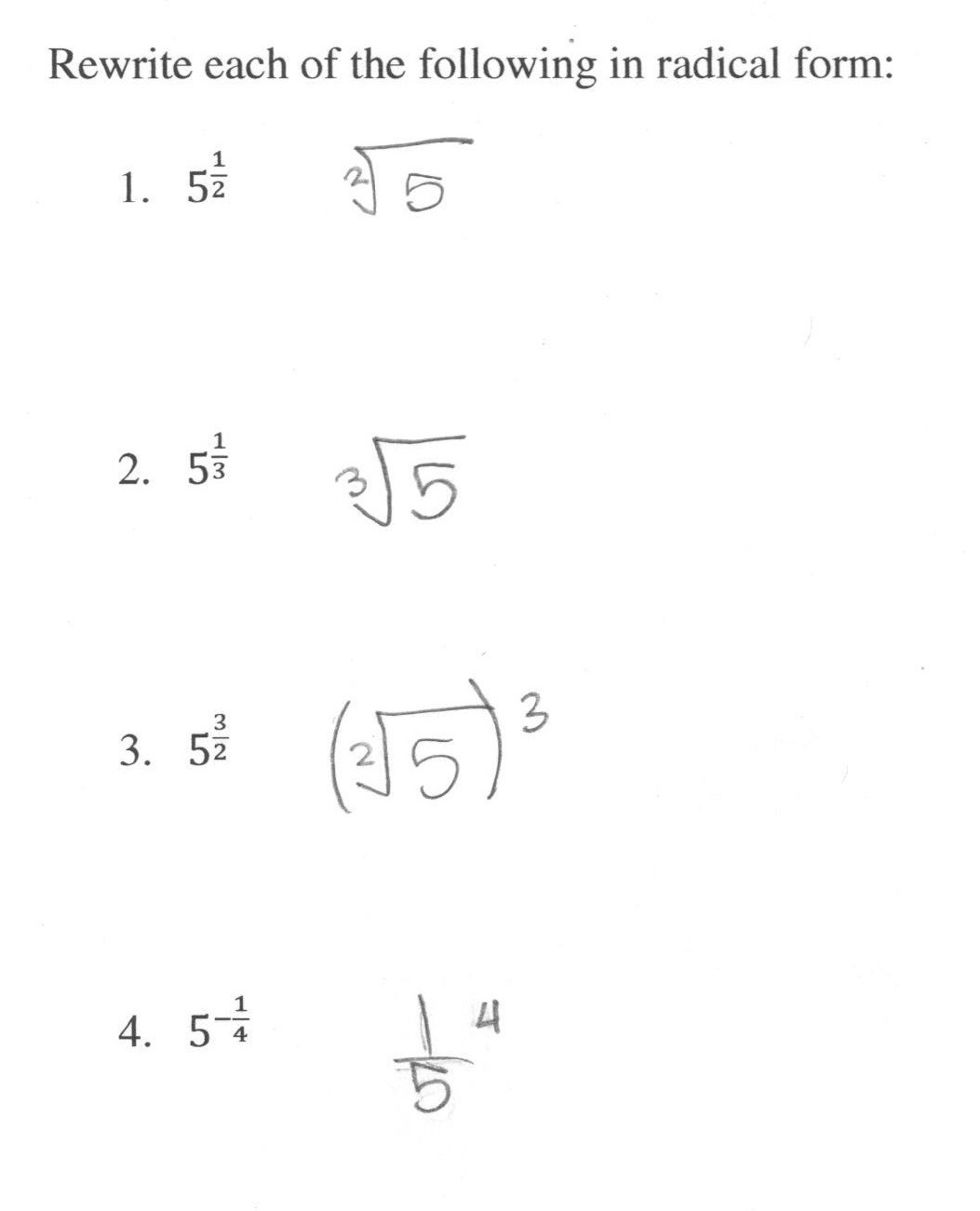 Radical and Rational Exponents Worksheet Rational Exponents 2 Students are asked to Convert