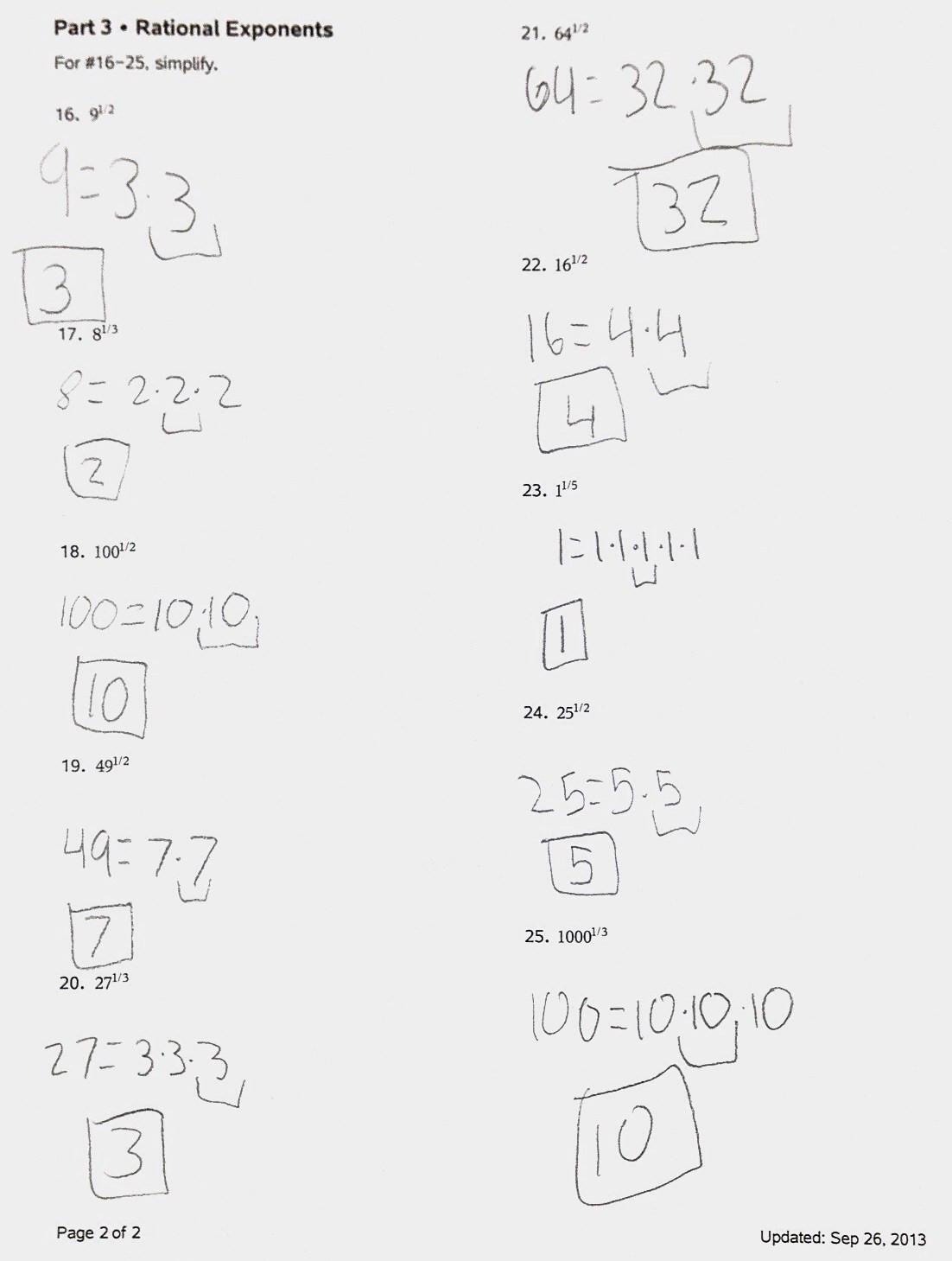Radical and Rational Exponents Worksheet Worksheet Rational Exponents