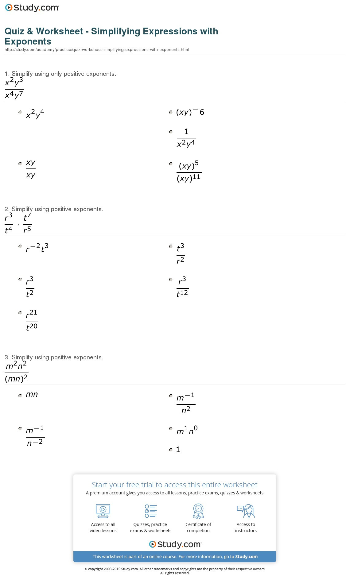 Radicals and Rational Exponents Worksheet Luxury Simplifying Expressions Worksheet