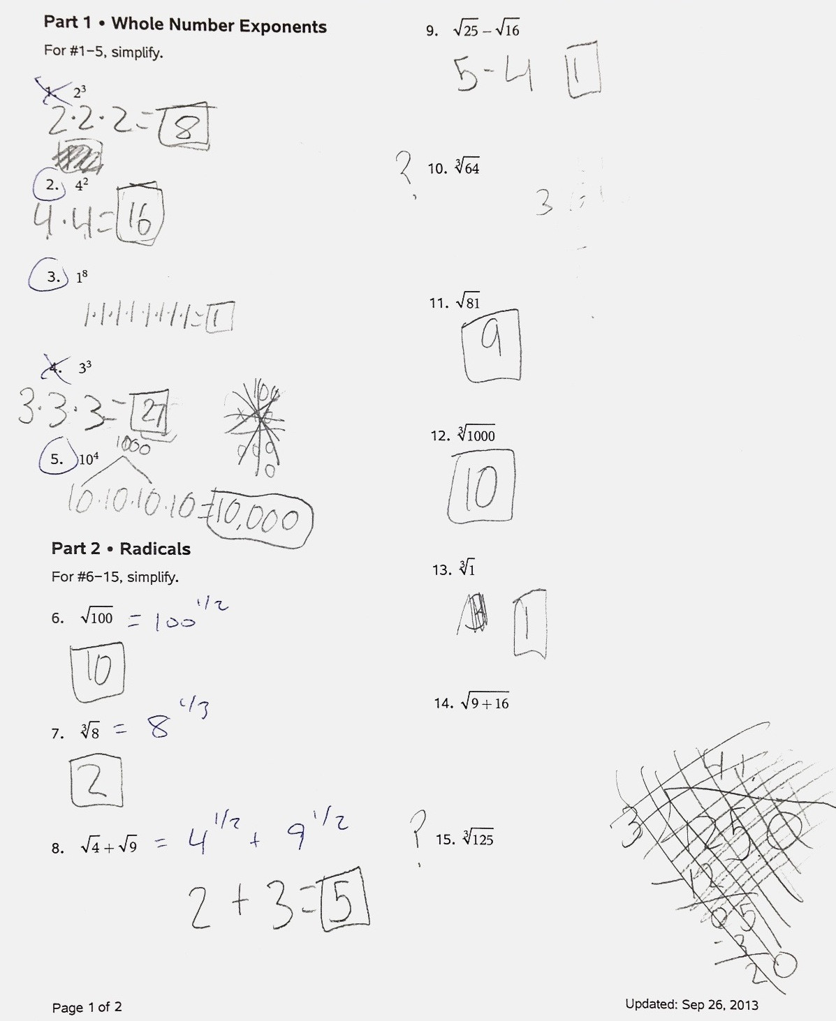Radicals and Rational Exponents Worksheet Mistakes Radicals Rational Exponents and Partitioning