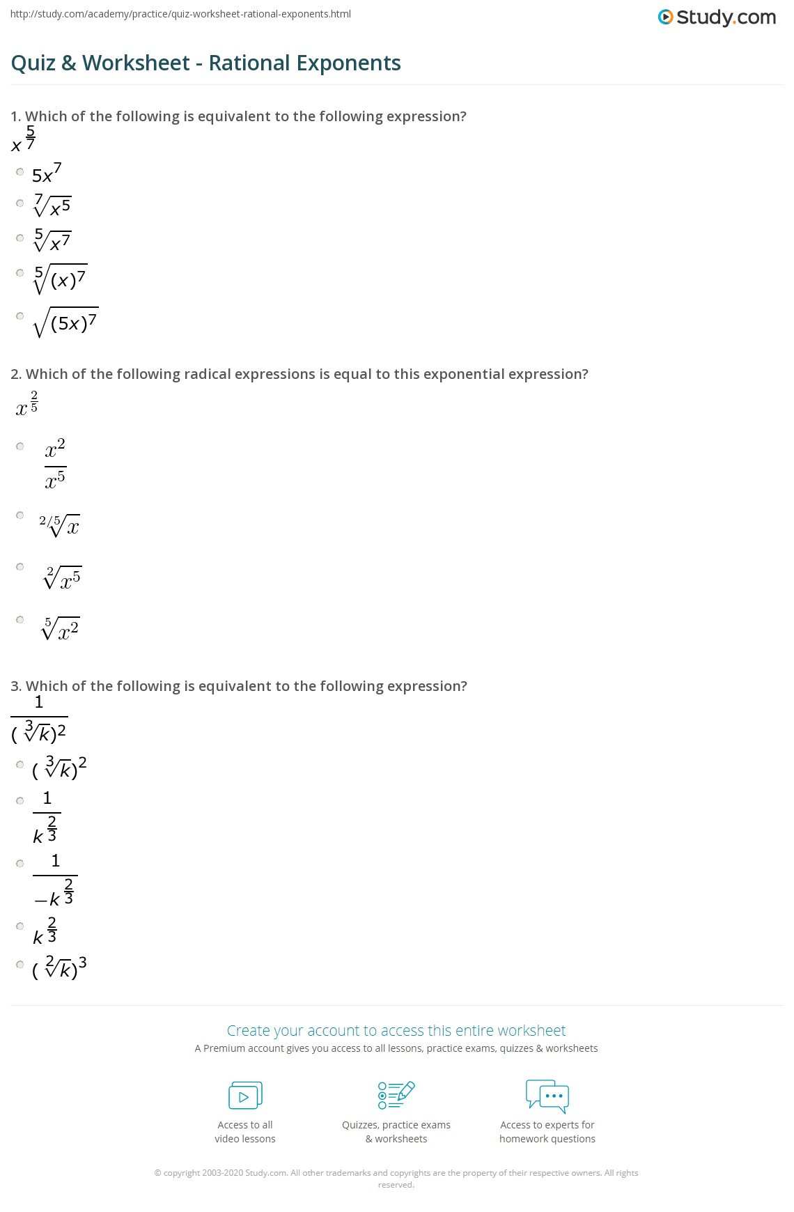 Radicals and Rational Exponents Worksheet Quiz & Worksheet Rational Exponents