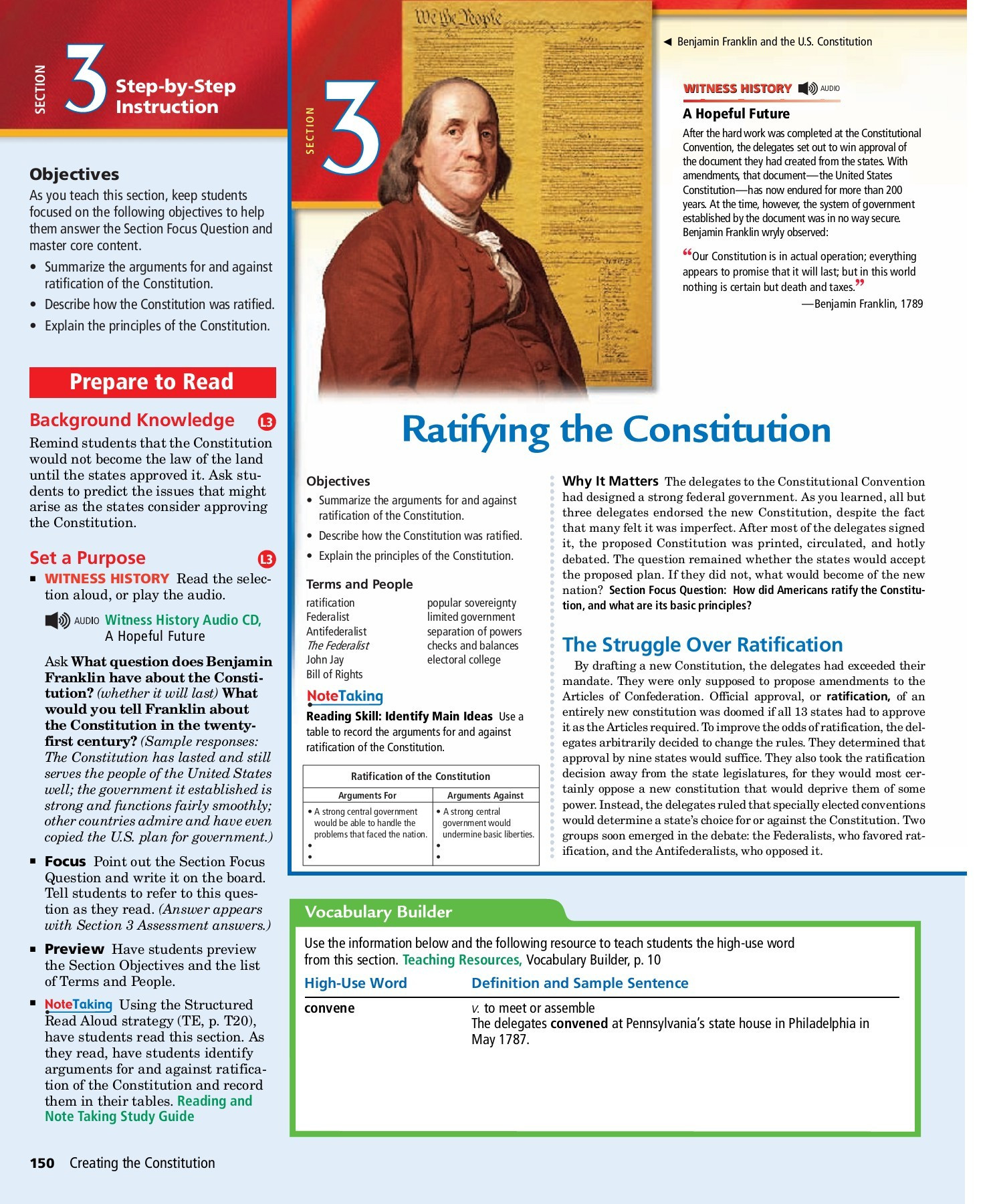 Ratifying the Constitution Worksheet Answers Prepare to Read L3 Ratifying the Constitution Pages 1 4