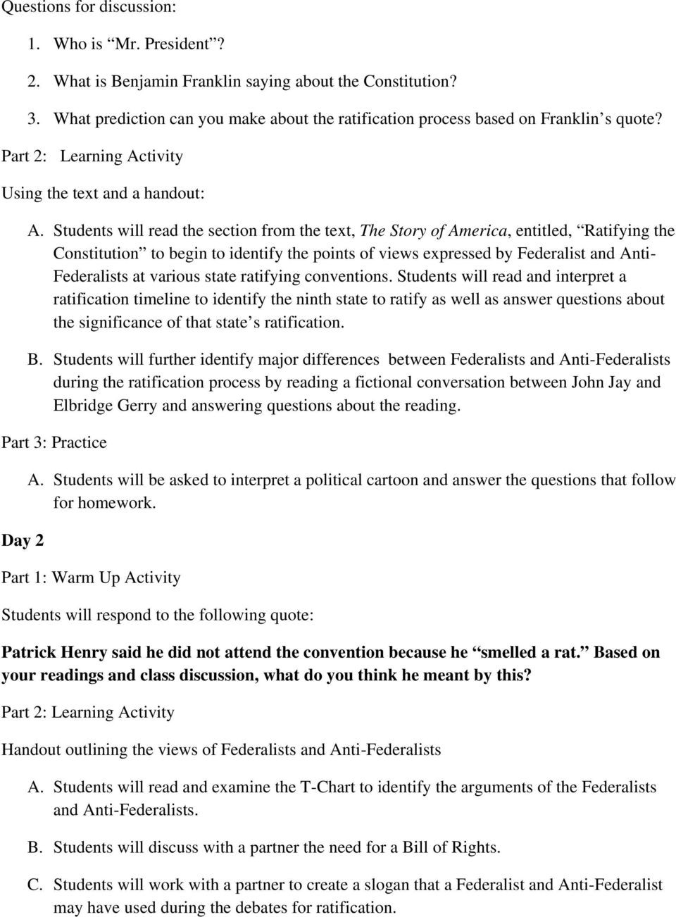 Ratifying the Constitution Worksheet Answers to Ratify or Not to Ratify Federalists V Anti Federalists