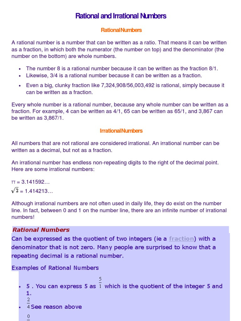 Rational and Irrational Numbers Worksheet Rational and Irrational Numbers