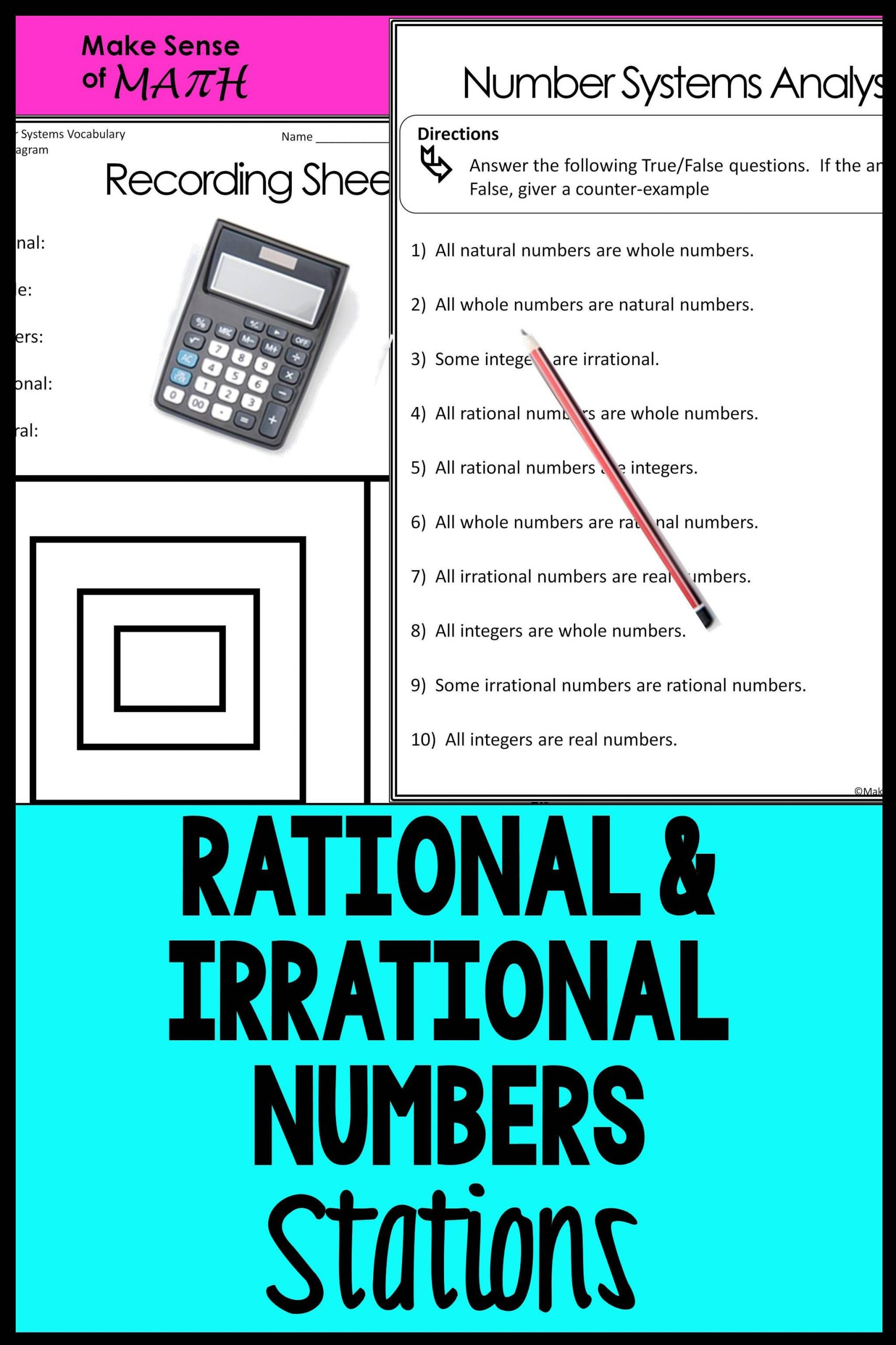 Rational and Irrational Numbers Worksheet the Real Number System Rational and Irrational Numbers Math