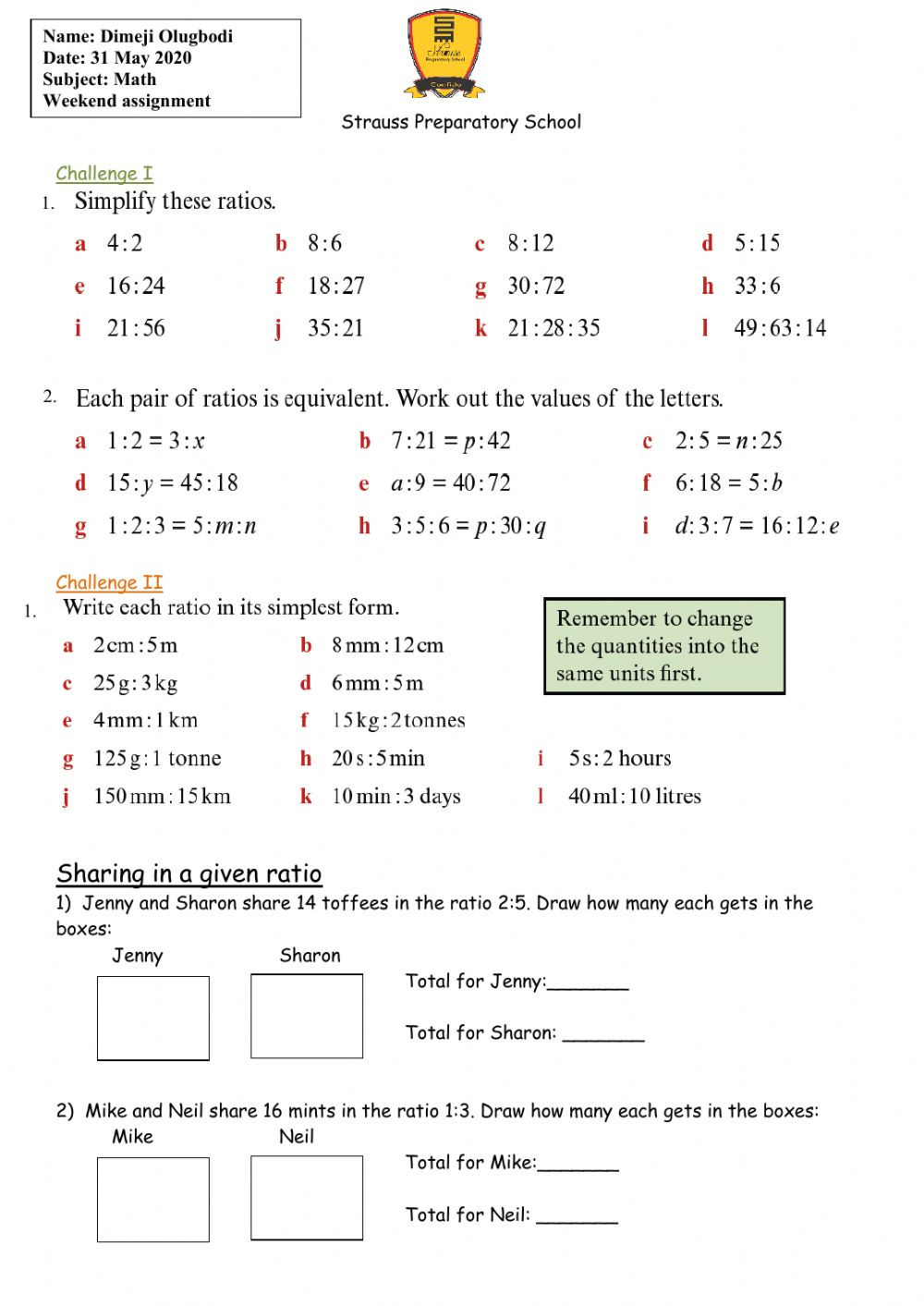 Ratios and Rates Worksheet Ratio Interactive Worksheet