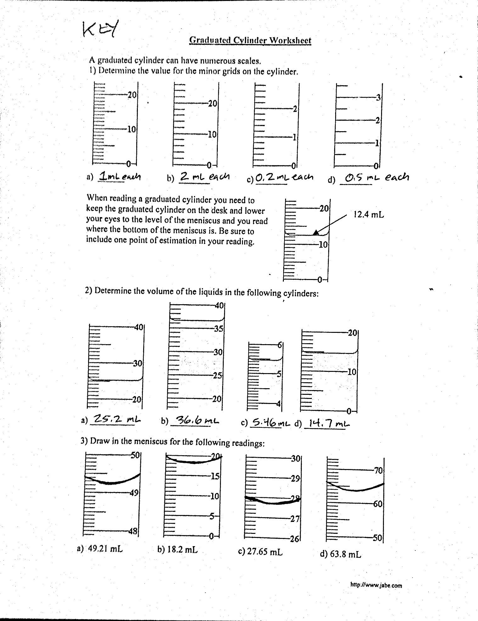 Reading A Graduated Cylinder Worksheet Measurement Mass and Volume Mr Gibbs Science