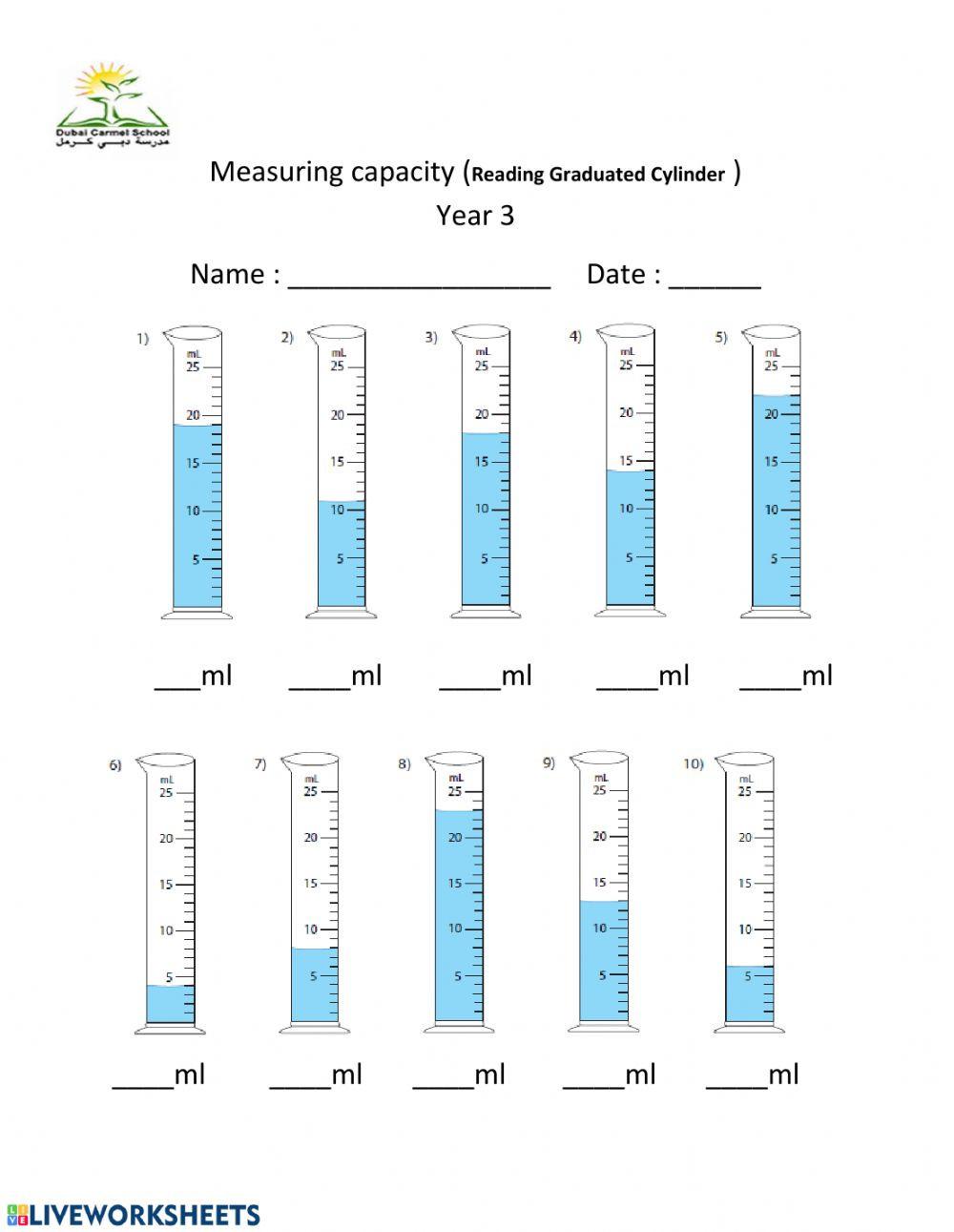 Reading A Graduated Cylinder Worksheet Measuring Capacity Ml Interactive Worksheet