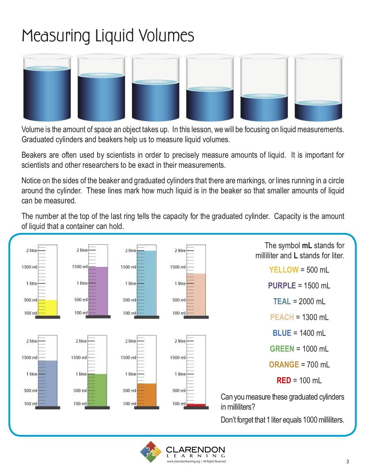 Reading A Graduated Cylinder Worksheet Measuring Liquid Volume