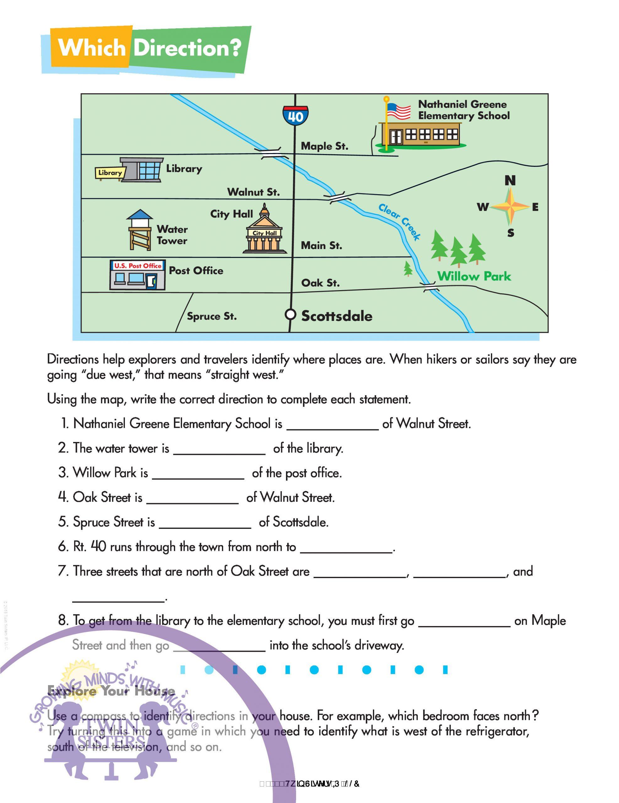 Reading A Map Worksheet Reading A Map Worksheets