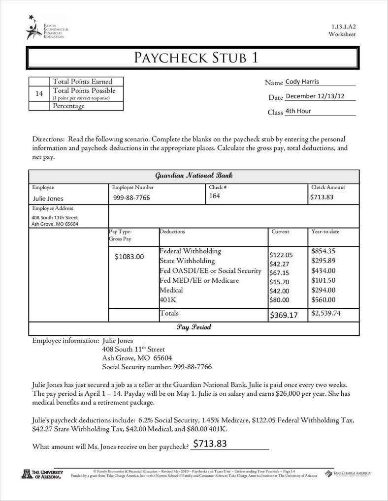 Reading A Pay Stub Worksheet 9 Free Pay Stub Templates Word Pdf Excel format Download