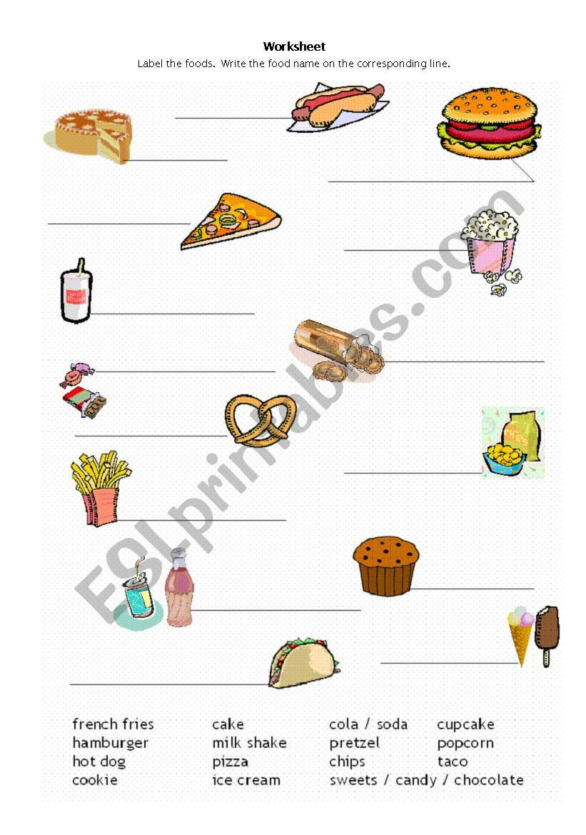 Reading Food Label Worksheet Fast Foods Label the Pictures Esl Worksheet by Hjeffrey