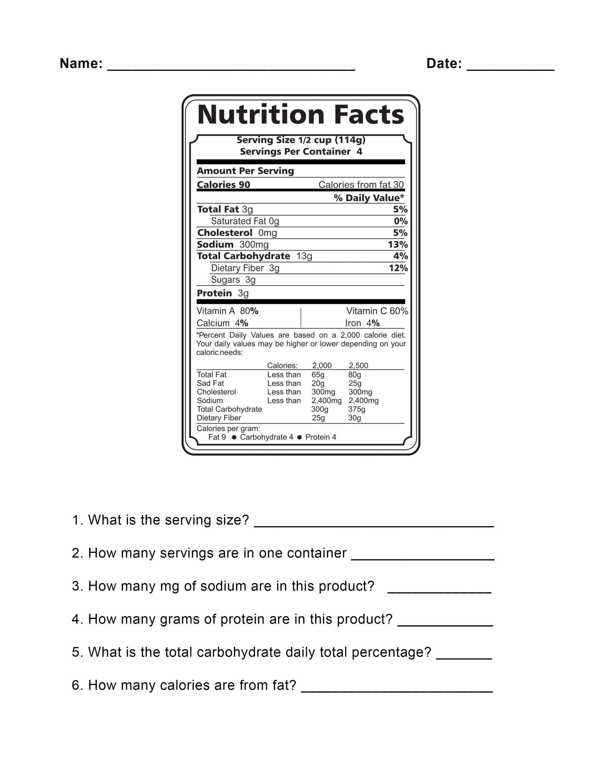 Reading Food Label Worksheet Food Label Worksheet Demirediffusion Pertaining to