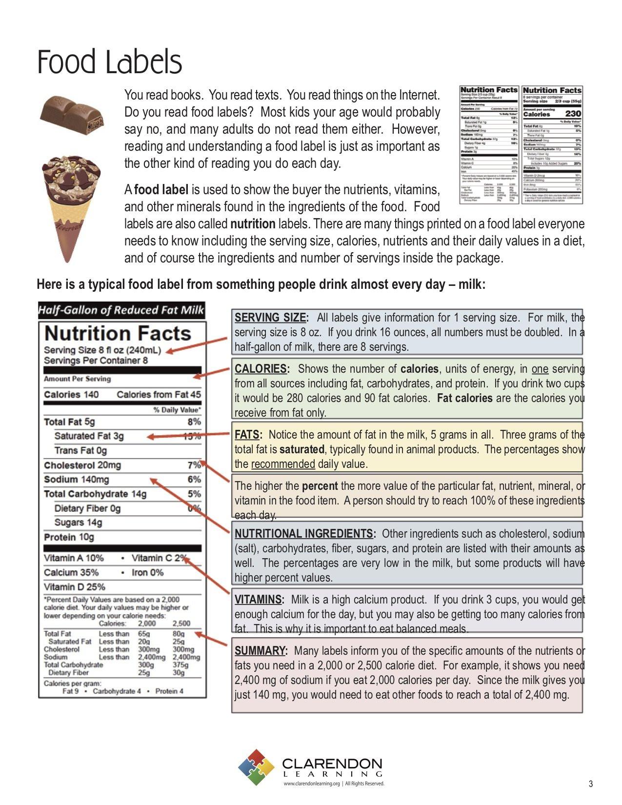 Reading Food Label Worksheet Food Labels