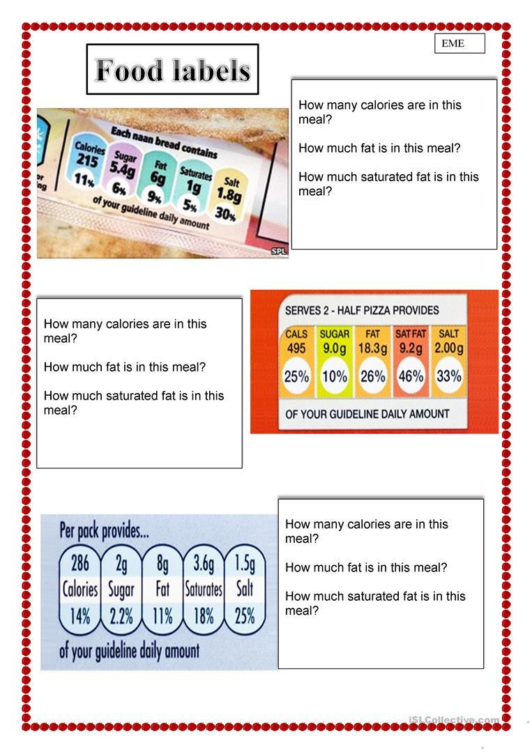 Reading Food Label Worksheet Healthy Eating Food Labels English Esl Worksheets for