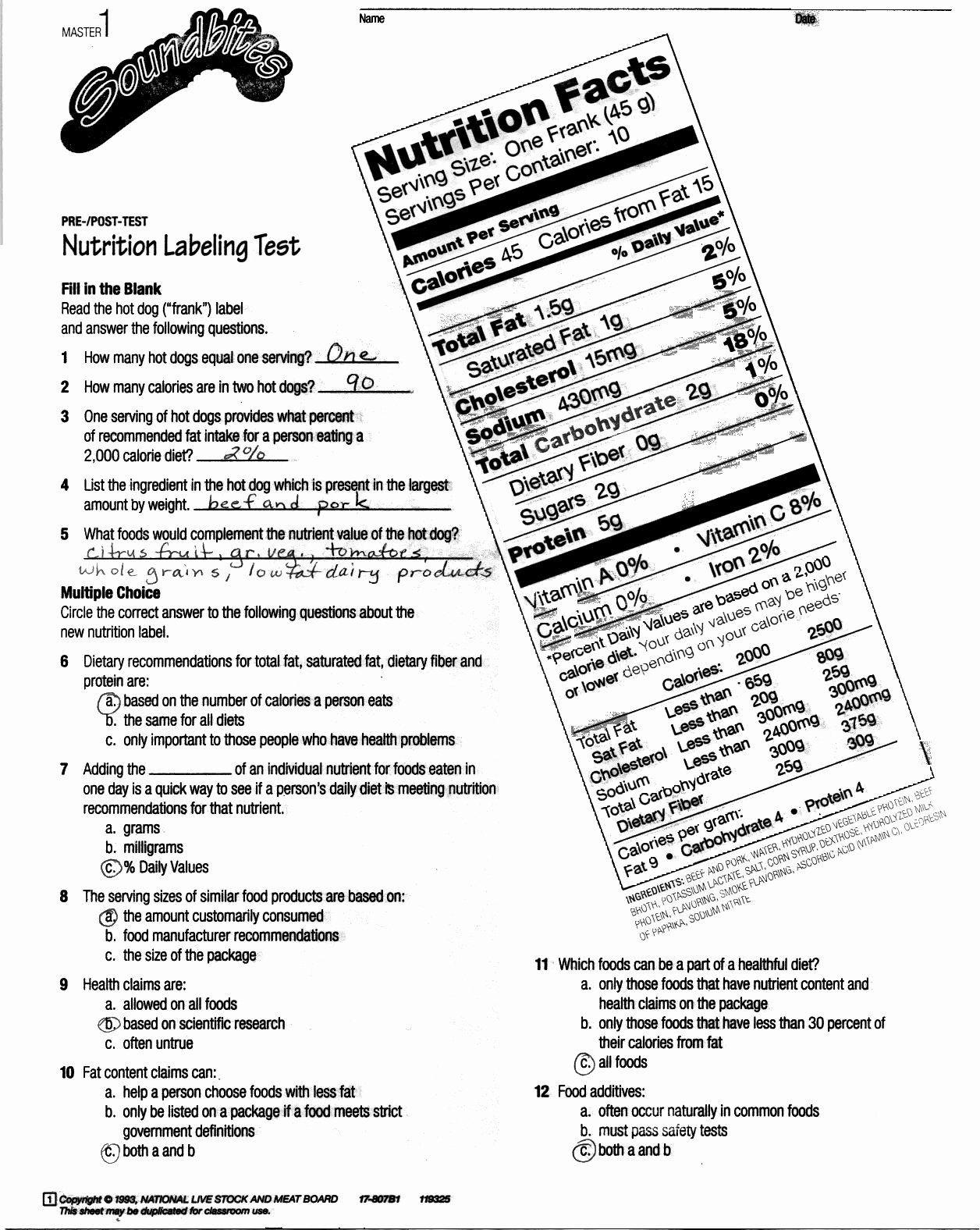 Reading Food Label Worksheet Nutrition Label Worksheet Answer Key Best Reading